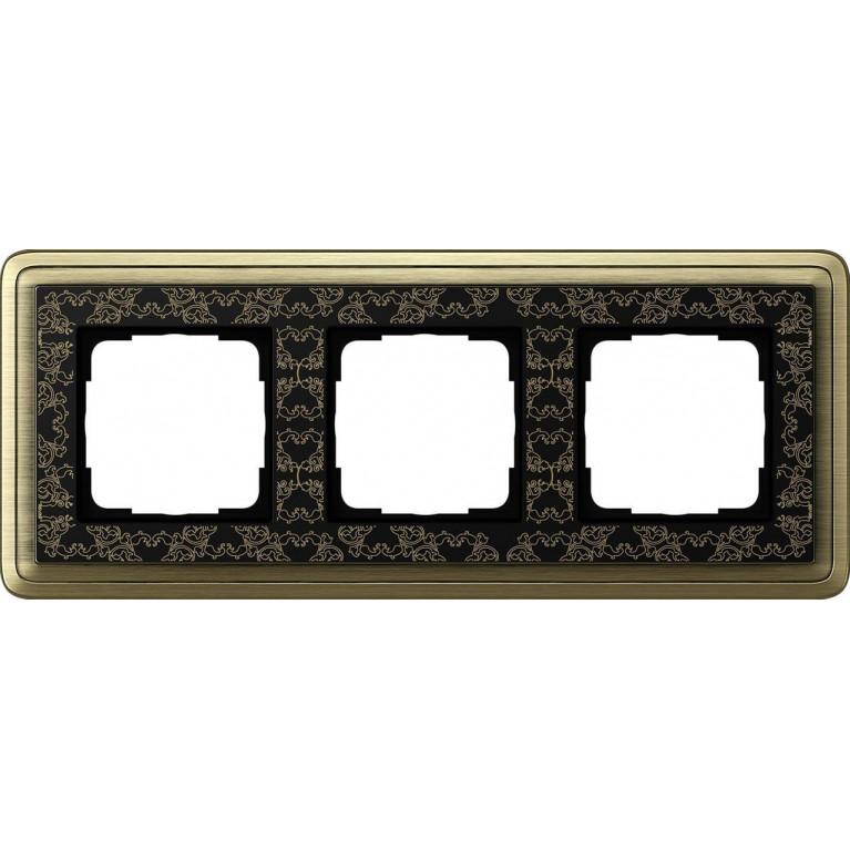 Рамка 3-постовая Gira ClassiX Art бронза/черный 0213662
