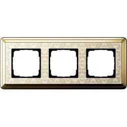 Рамка 3-постовая Gira ClassiX Art латунь/кремовый 0213673