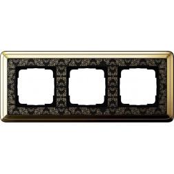Рамка 3-постовая Gira ClassiX Art латунь/черный 0213672