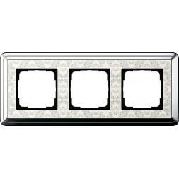 Рамка 3-постовая Gira ClassiX Art хром/кремовый 0213683