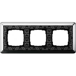 Рамка 3-постовая Gira ClassiX Art хром/черный 0213682