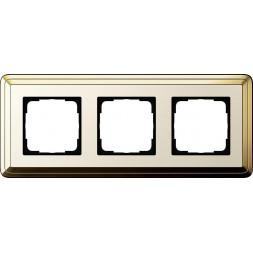 Рамка 3-постовая Gira ClassiX латунь/кремовый 0213633