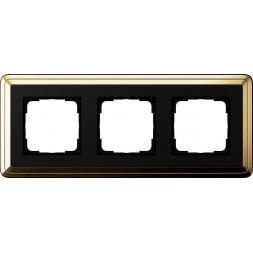 Рамка 3-постовая Gira ClassiX латунь/черный 0213632