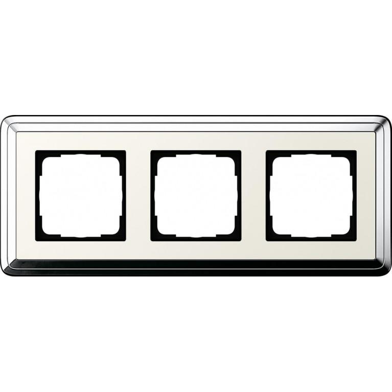 Рамка 3-постовая Gira ClassiX хром/кремовый 0213643