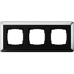 Рамка 3-постовая Gira ClassiX хром/черный 0213642