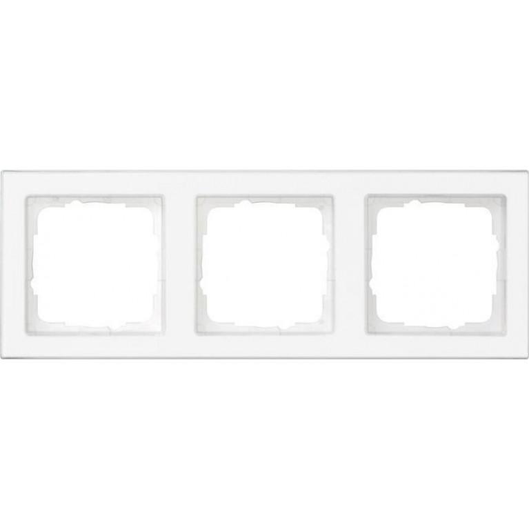 Рамка 3-постовая Gira E2 полностью надписываемая чисто-белый глянцевый 071322