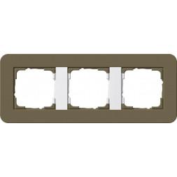 Рамка 3-постовая Gira E3 дымчатый/белый глянцевый 0213416