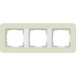 Рамка 3-постовая Gira E3 песочный/белый глянцевый 0213417