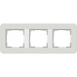 Рамка 3-постовая Gira E3 светло-серый/белый глянцевый 0213411