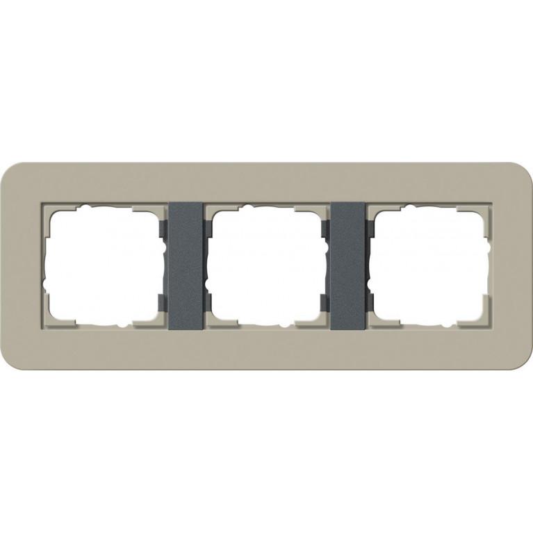 Рамка 3-постовая Gira E3 серо-бежевый/антрацит 0213428
