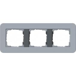 Рамка 3-постовая Gira E3 серо-голубой/антрацит 0213424
