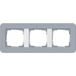 Рамка 3-постовая Gira E3 серо-голубой/белый глянцевый 0213414
