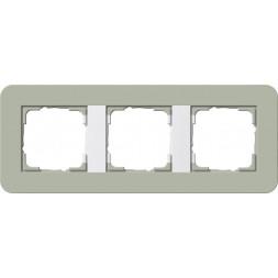 Рамка 3-постовая Gira E3 серо-зеленый/белый глянцевый 0213415