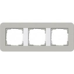 Рамка 3-постовая Gira E3 серый/белый глянцевый 0213412