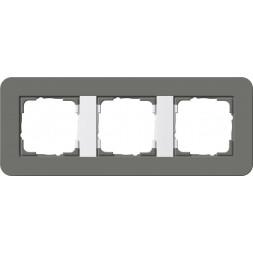 Рамка 3-постовая Gira E3 темно-серый/белый глянцевый 0213413