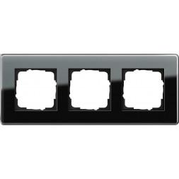 Рамка 3-постовая Gira Esprit C черное стекло 0213505