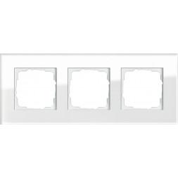 Рамка 3-постовая Gira Esprit белое стекло 021312