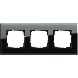 Рамка 3-постовая Gira Esprit черное стекло 021305
