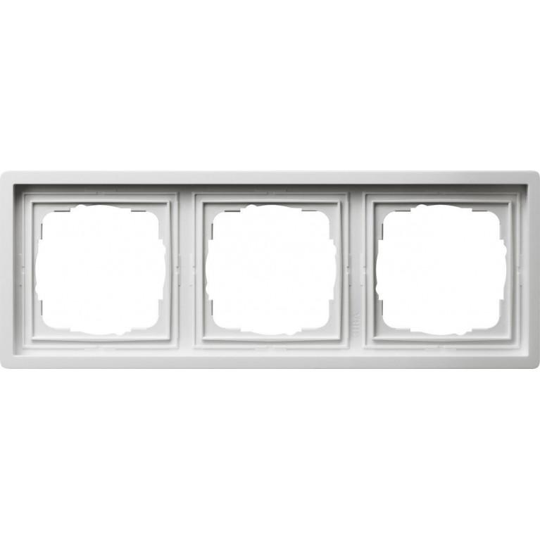 Рамка 3-постовая Gira F100 чисто-белый глянцевый 0213112