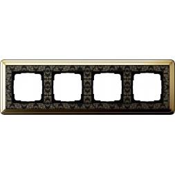 Рамка 4-постовая Gira ClassiX Art латунь/черный 0214672