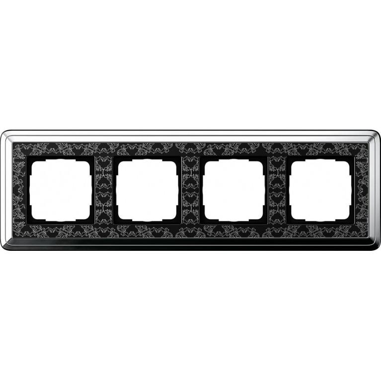 Рамка 4-постовая Gira ClassiX Art хром/черный 0214682