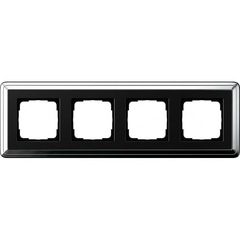 Рамка 4-постовая Gira ClassiX хром/черный 0214642