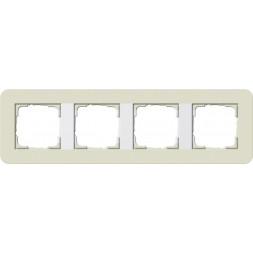 Рамка 4-постовая Gira E3 песочный/белый глянцевый 0214417