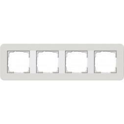 Рамка 4-постовая Gira E3 светло-серый/белый глянцевый 0214411