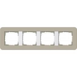 Рамка 4-постовая Gira E3 серо-бежевый/белый глянцевый 0214418