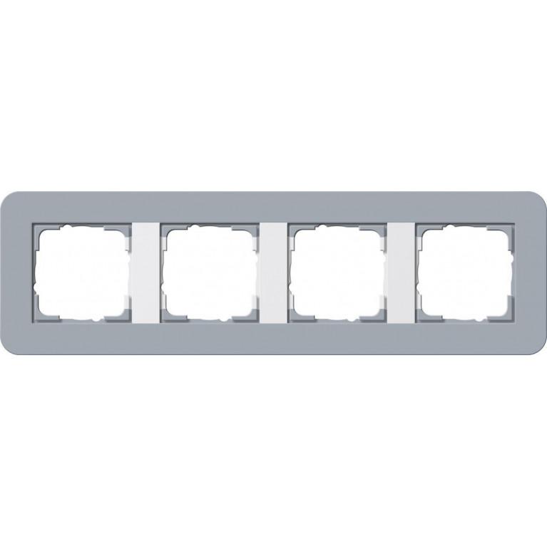 Рамка 4-постовая Gira E3 серо-голубой/белый глянцевый 0214414