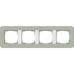 Рамка 4-постовая Gira E3 серо-зеленый/белый глянцевый 0214415