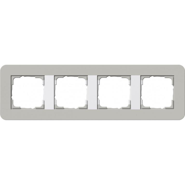 Рамка 4-постовая Gira E3 серый/белый глянцевый 0214412