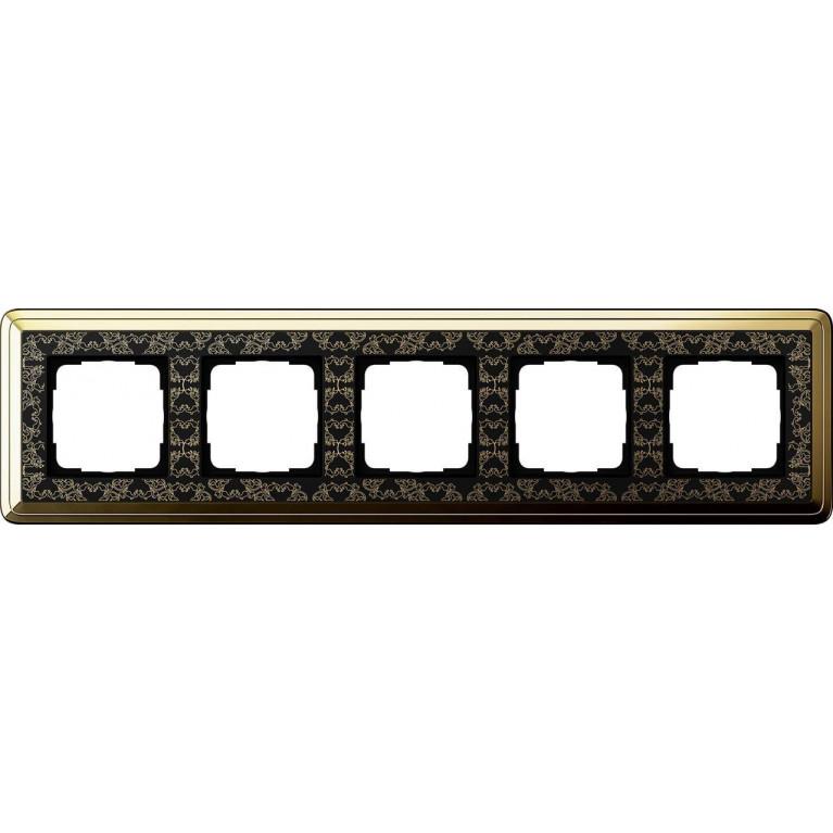 Рамка 5-постовая Gira ClassiX Art латунь/черный 0215672