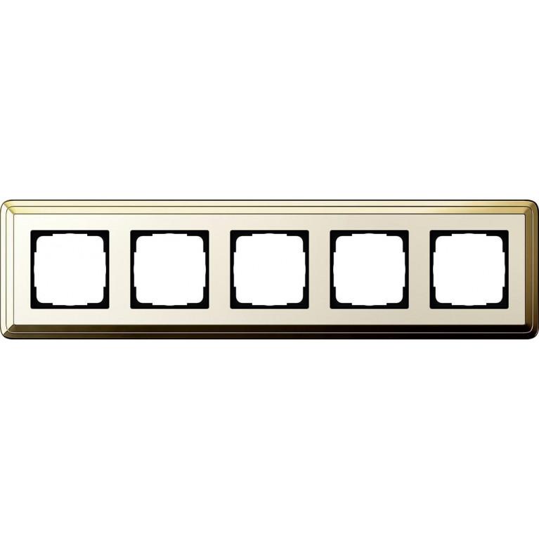 Рамка 5-постовая Gira ClassiX латунь/кремовый 0215633