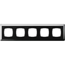 Рамка 5-постовая Gira ClassiX хром/черный 0215642