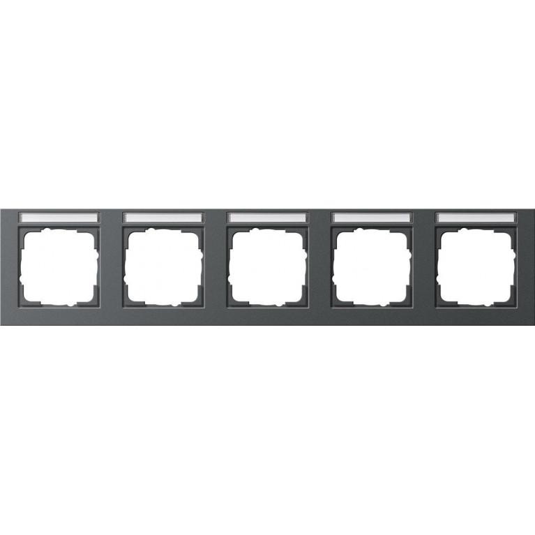 Рамка 5-постовая Gira E2 с полем для надписи антрацит 109523