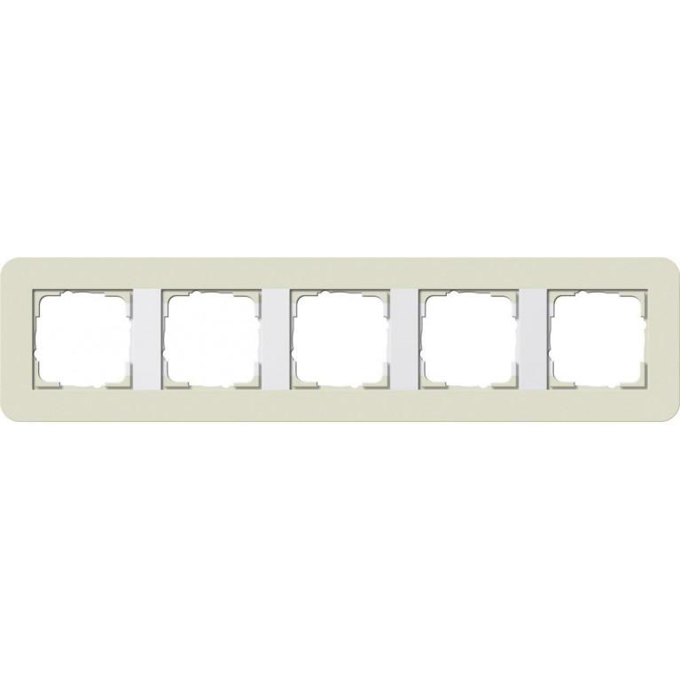 Рамка 5-постовая Gira E3 песочный/белый глянцевый 0215417