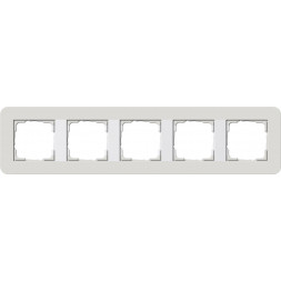Рамка 5-постовая Gira E3 светло-серый/белый глянцевый 0215411
