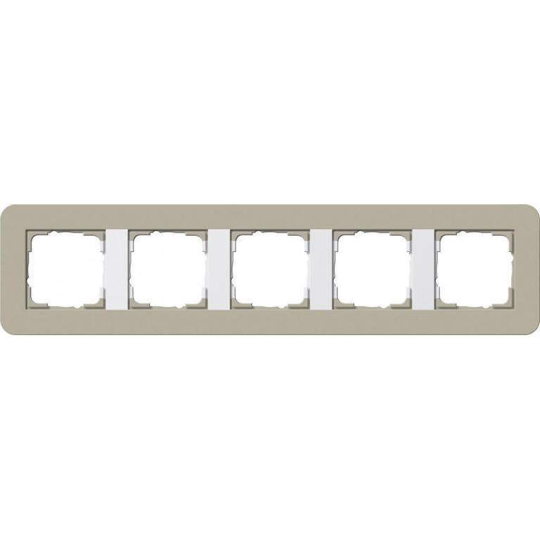 Рамка 5-постовая Gira E3 серо-бежевый/белый глянцевый 0215418