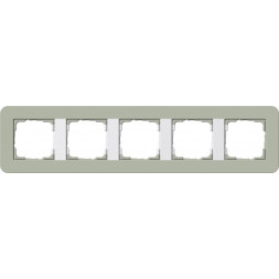 Рамка 5-постовая Gira E3 серо-зеленый/белый глянцевый 0215415