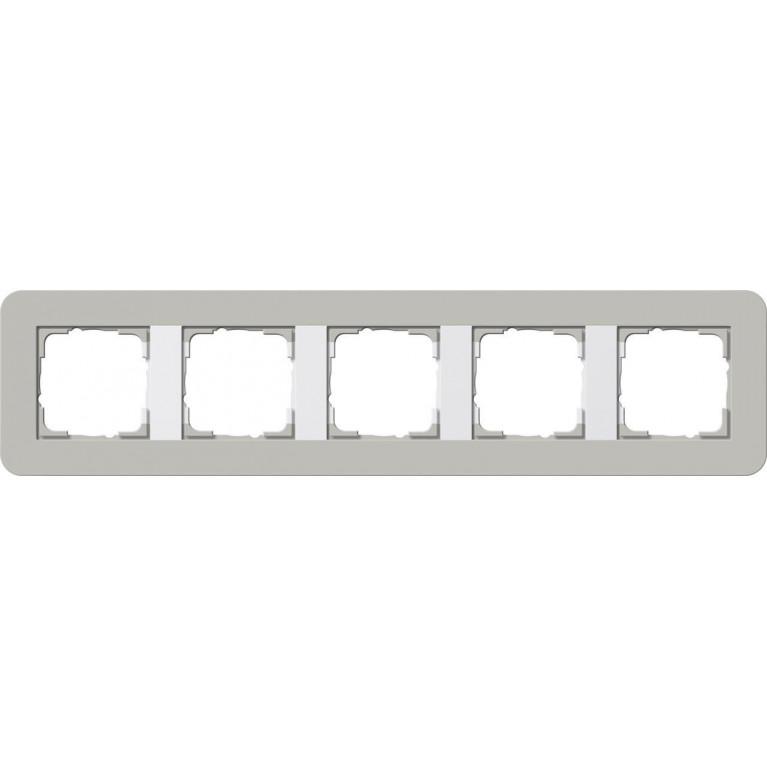 Рамка 5-постовая Gira E3 серый/белый глянцевый 0215412