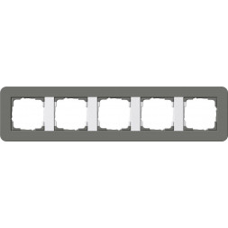 Рамка 5-постовая Gira E3 темно-серый/белый глянцевый 0215413