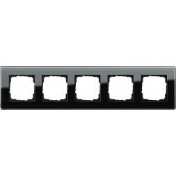 Рамка 5-постовая Gira Esprit C черное стекло 0215505