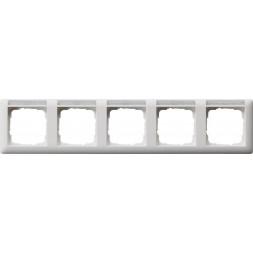 Рамка 5-постовая Gira Standard 55 с полем для надписи чисто-белый шелковисто-матовый 109527
