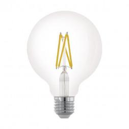Лампа светодиодная филаментная диммируемая Eglo E27 6W 2700К прозрачная 11703