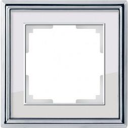 Рамка Palacio на 1 пост хром/белый WL17-Frame-01 4690389108037