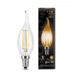 Лампа светодиодная филаментная E14 11W 2700К прозрачная 104801111