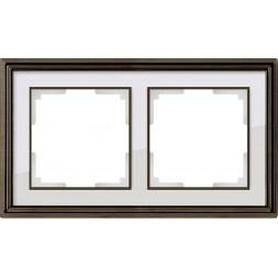 Рамка Palacio на 2 поста бронза/белый WL17-Frame-02 4690389103605