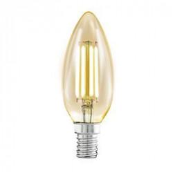 Лампа светодиодная филаментная Eglo E14 4W 2200К янтарь 11557