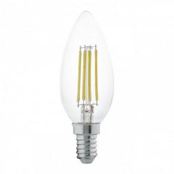 Лампа светодиодная филаментная Eglo E14 4W 2700К прозрачная 11496